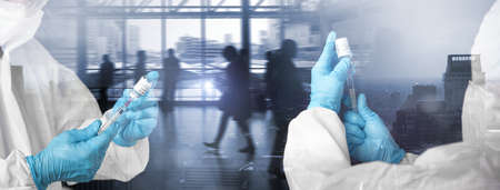 Doctors hands hold a vaccine bottle against coronavirus, Double exposure with the population living in the city, Banner background with copy space.