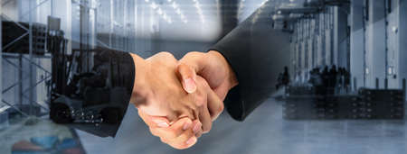 Storage and Warehousing Business Services, Double exposure of Businessman shaking hands contract and warehouse background, Business of storage for Export-Import Logistics support in banner size
