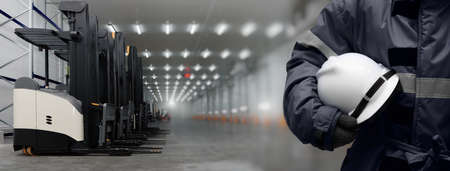 Head of the Cargo Operation Control worker on warehouse Double exposure image with Forklift standing on Loading area. Warehouse storage system service concept in Banner size.