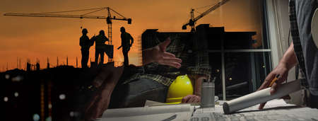 Double exposure of civil engineer silhouette at construction site with building designer meeting at night in banner site