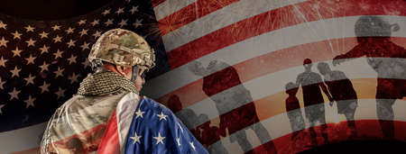 US Soldier in combat uniforms holding the national flag across the shoulder, Double exposure with American flag and Silhouette of family happy, Veterans Day, Patriot concept, Independence Day, ID4