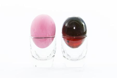 amoniaco: Huevo conservado ingrediente c�scara de Pato y materia prima en chupito Foto de archivo