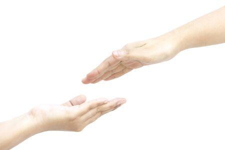 dedo me�ique: Pon tu mano en mi mano juntos en el fondo blanco