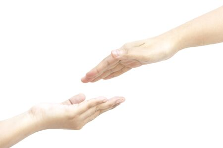 pinkie: Put your hand to my hand together on white background
