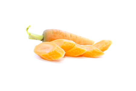 carots: Baby carrots piece sliced ingredient with raw material on white background