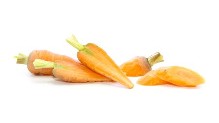 carots: Baby carrots cut and sliced ingredient on white background
