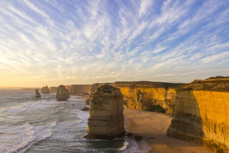 Sunset time at twelve apostles attractions on Green Ocean Road Australia Stock Photo