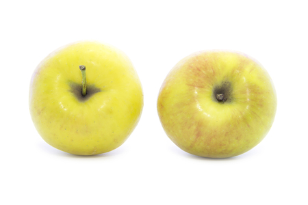 yellow apple: Top yellow apple healthy fruit on white background Stock Photo