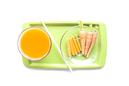carots: Carrots juice healthy diet food on waiter on white background