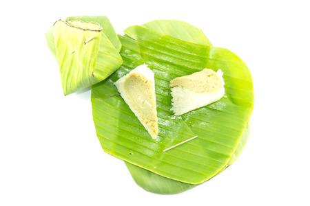 kaya: Sticky rice custard Thai Dessert top view on white background
