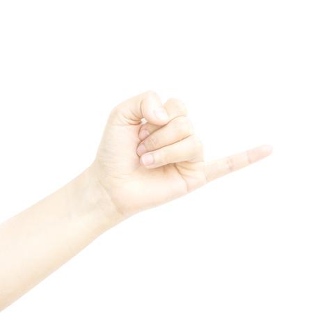 dedo me�ique: Poco met�fora mano con el dedo juntos en el fondo blanco