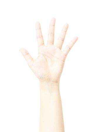 dedo meÑique: Cinco dedos metáfora mano con el saludo en el fondo blanco Foto de archivo