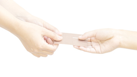 pinkie: Give and get business card with hand metaphor with connection on white background