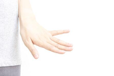 dedo meÑique: gesto con la mano metáfora dedo para gay en el fondo blanco