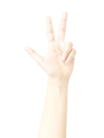 dedo me�ique: Tres dedo met�fora mano con el recuento en el fondo blanco