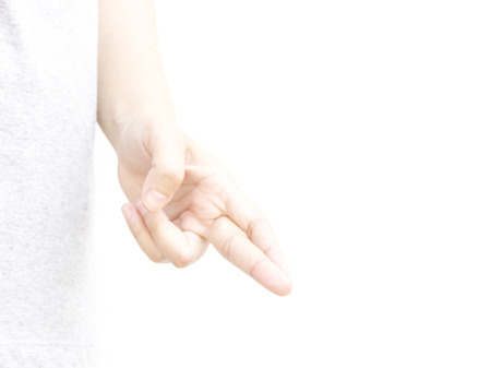 pinkie: Swith finger hand metaphor with lie on white background