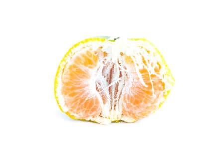 sweet segments: Orange fruit diet food for fiber nutrition on white background Stock Photo