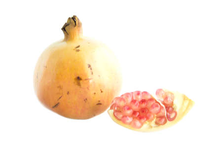 quater: Seed and quater pomegranate cut  on white background