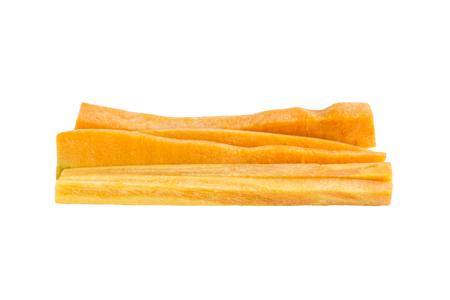 carots: Fresh Carrot piece sliced ingredient on white background Stock Photo
