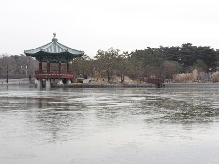 tradional: Freezing pond and pavilion tradional park in National Museum Seoul Korea