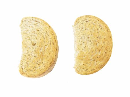 wheat toast: Half circle shape whole wheat toast top view on white background Stock Photo