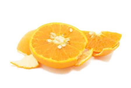 sweet segments: Half orange fruit fiber nutrition on white background
