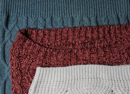 mohair: Green, marsala and white knitting textures Stock Photo