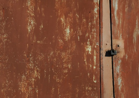 oxidized: Texture of old shabby metal surface. Cracks, scrapes and bright spots of colored paint Stock Photo