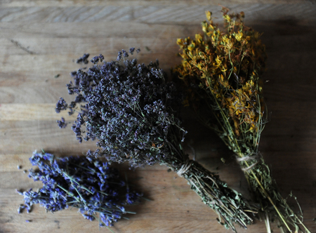 Preparation of herbal teas and dried flowers on a wooden board, cozy mood Stock Photo