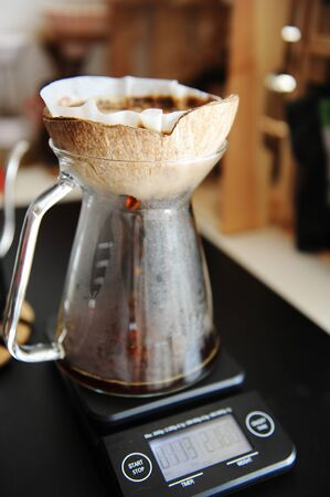 Unusual creative craft coconut shell pourover drip alternative coffee brewing