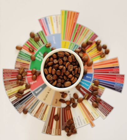Specialty coffee concept. Roasted coffee beans in white cup on taster's flavor wheel. Top view. Third wave coffee