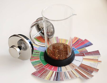 French press with ground coffee. On coffee Tasters Flavor Wheel. White background