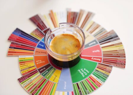 Espresso coffee shot on tasters flavor wheel top view. White background