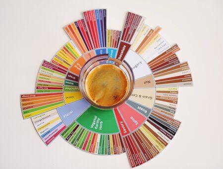 Espresso coffee shot on tasters flavor wheel top view. White background Foto de archivo