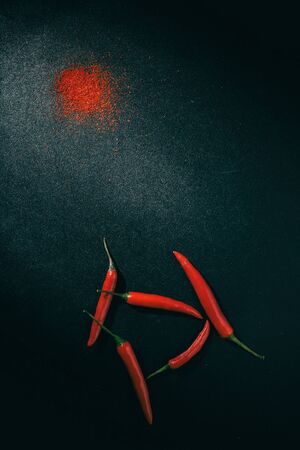 still life. red chili peppers and turmeric spice on a dark background with partial light Reklamní fotografie