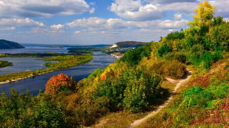view of the Volga river in the Zhiguli mountains on a clear Sunny day in early autumn