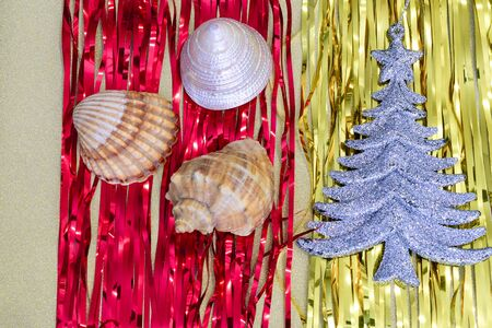 Christmas decorations and Christmas toys combined with sea stars and shells
