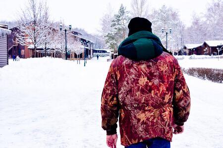 walking in the park on a winter cloudy day Zdjęcie Seryjne