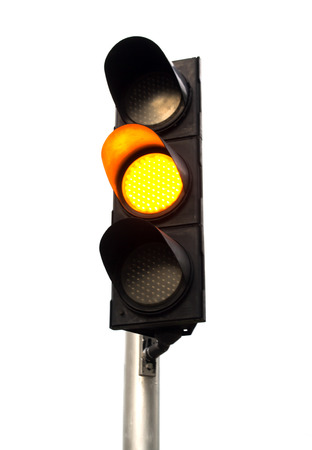 Yellow color on the traffic light. Stock Photo