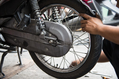 oil change: The mechanic tire of the motorcycle.
