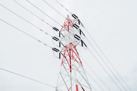 electricity grid: Electricity pylon isolated on white Thailand