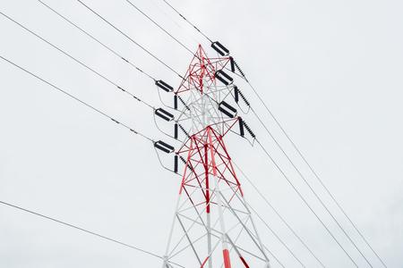 electricidad industrial: Torre de electricidad aislado en blanco Tailandia