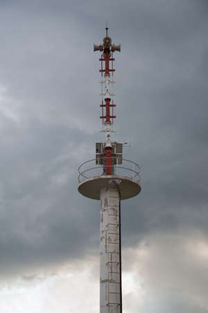 warning system: Columns with tsunami warning system.