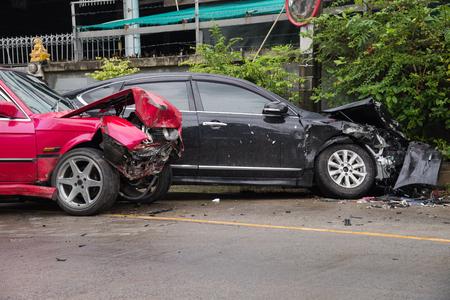 totaled: Car accident crash barrier fence.