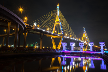 bhumibol: Bhumibol Bridge night in thailand