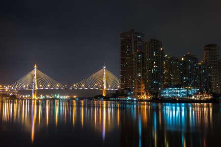 bhumibol: Bhumibol Bridge night in thailand