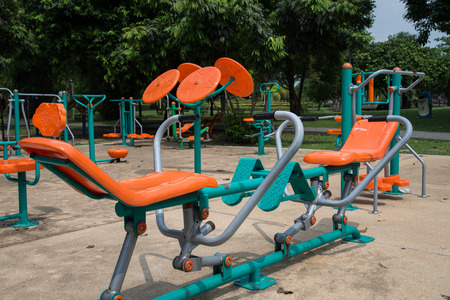 outside machines: Exercise equipment in the Park. Stock Photo