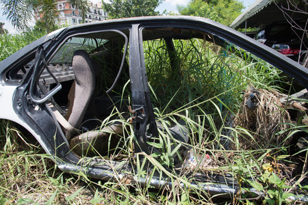 rusty car: old rusty car wreck integrating itself into nature. Stock Photo