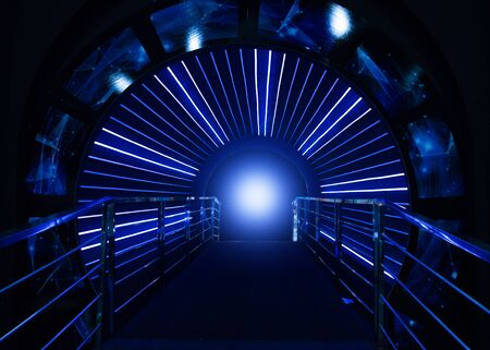 confined: Space tunnels lead into the future Stock Photo