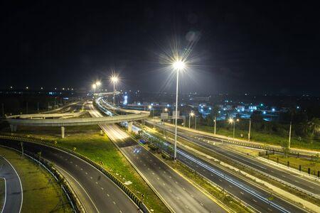 highway traffic: Street Expressway at night in thailand